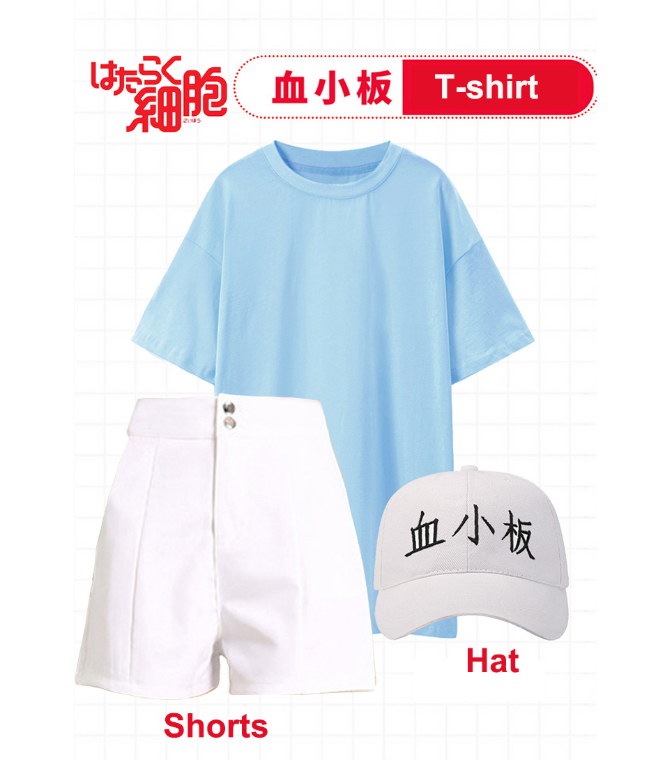 Japanese Anime Cells at Work Hataraku Saibou Platelet Cosplay Costumes Kawaii Girls School Uniforms T-shirt Women Casual