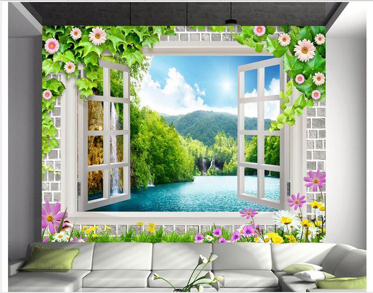 Custom photo wallpaper 3d tv wall papers murals 3 d window false window lake scenery beauty mural living room decoration Обои