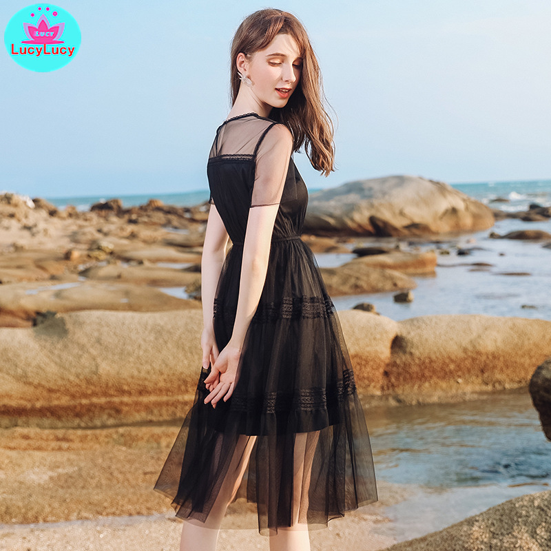 2019 summer new European and American women 39 s round neck one button net yarn a word sexy slim dress Ball Gown in Dresses from Women 39 s Clothing