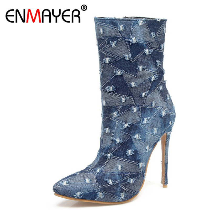 ENMAYER High Heels Short Boots Shoes Woman Pointed Toe Ankle Boots for Women Plus Size 34-48 Zippers Denim Fashion Boots fashion ankle high women boots peep toe chunky heels real image plus size 14 shoes women boots for women short boots open toe