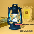 ZL Creative Retro Iron Led Kerosene Portable Outdoor Camping Lamp Metal Crafts Glass Lantern Candleholder Home Decoration Props
