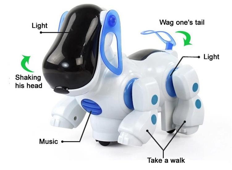 Amazing Robot Dog Lovely Music Shine Intelligent Electronic Robot Walking Dog Puppy Action Toy Pet Kids Baby With Music Light