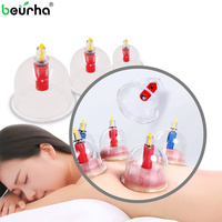 12PCS Chinese Effective Healthy Strong Adsorption Force Cups Medical Vacuum Pump Cupping Suction Therapy Device Body Massage Set