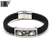HIP Black Genuine Leather Sports Bracelets Bangles Stainless Steel Simple Trendy Weave Rope for Men Jewelry