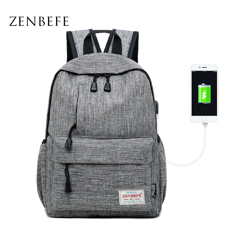 ZENBEFE Linen USB Charging Port Small Backpack Unisex School Bag For Teenage School Backpack For Students Backpacks Travel Bag