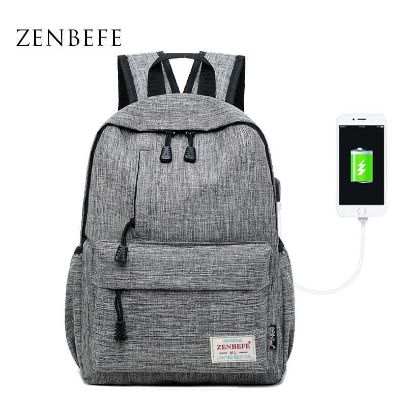 Zenbefe Linen USB Pengisian Port Kecil Ransel Unisex Tas Sekolah untuk Remaja Sekolah Ransel untuk Siswa Ransel Perjalanan Tas