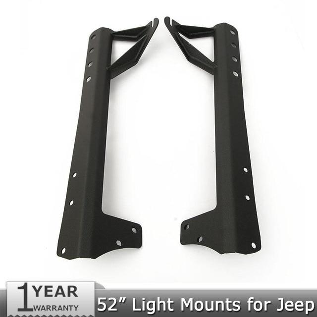 "Un par de 52 ""Barra de Luz Led Parabrisas Soportes De Montaje Montajes de Barras de Luz Offroad para Jeep Wrangler JK 07-15"