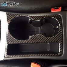 Carmonsons углерода Волокна подстаканник Отделка Декоративные Этикета Рамка Стикеры Обложка для Audi A4 B8 2009-2016 A5 Sline Логотип стайлинга автомобилей