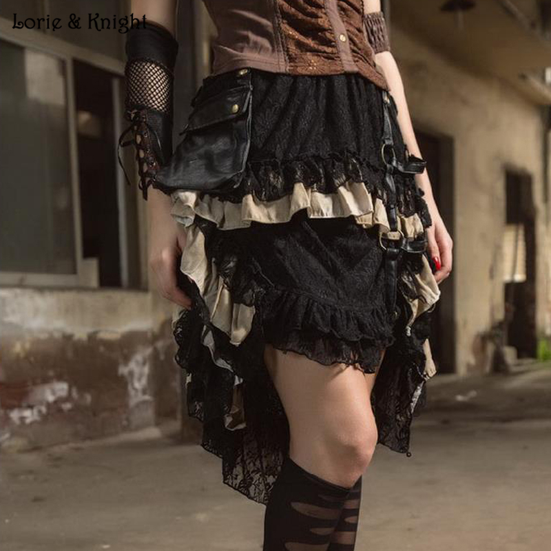 Vintage Black Lace Steampunk Gothic High Low Irrugular Flounce Skirt SP167BK