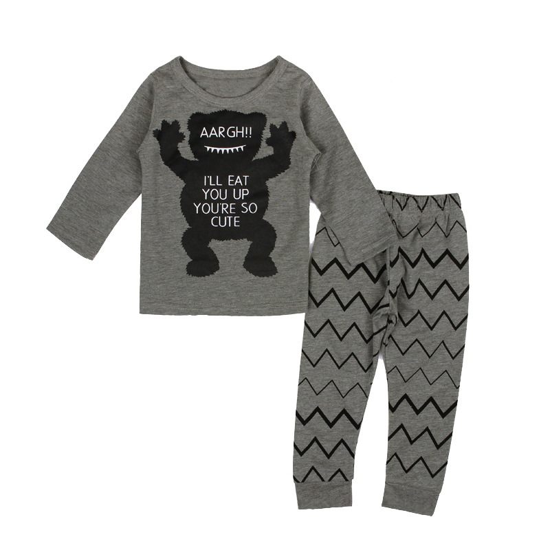 KEOL Best Sale Toddler Baby Boy Girls T-shirt+Pant Outfit Set Pajamas Clothing , Gray (Monster) , 0-6 Months