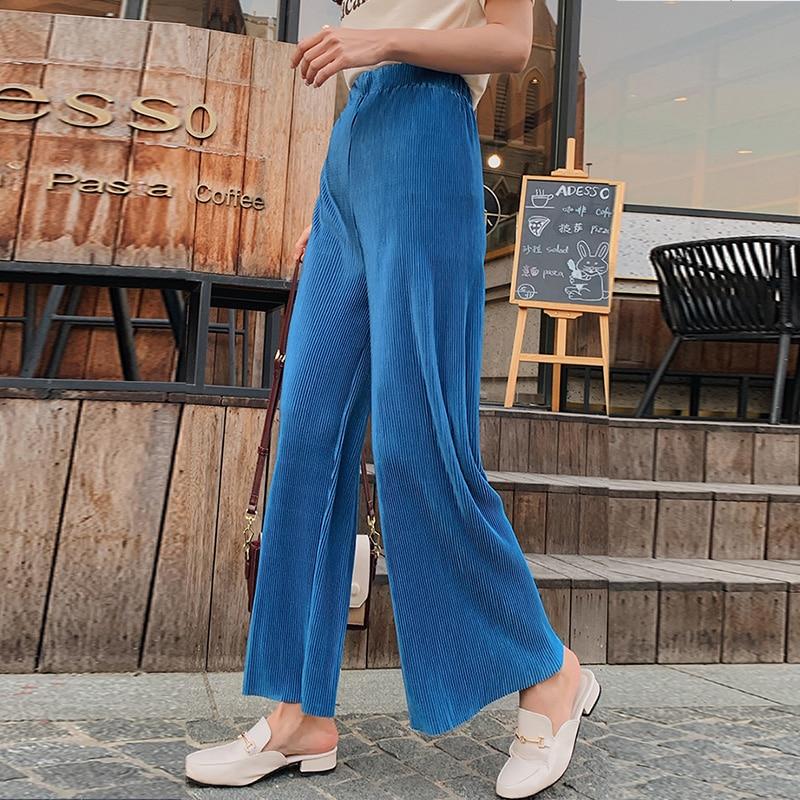 Womem   wide     leg     pants   2019 summer autumn fashion female vintage solid elastic waist loose meryl pleated   pant   casual boho trousers