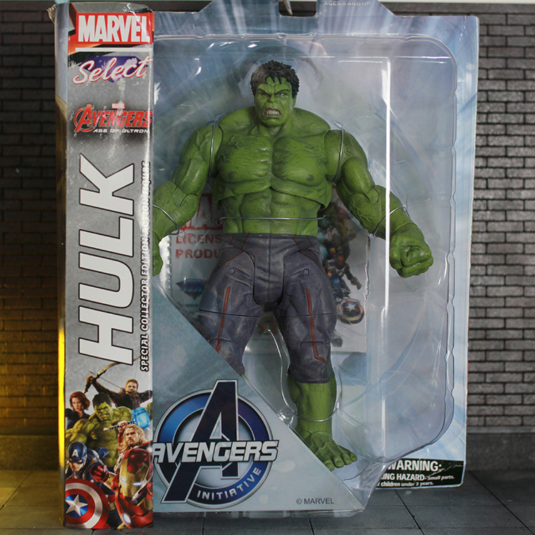Marvel Select Avengers Hulk PVC Action Figure Collectible Model Toy 25cm KT1233 avengers movie hulk pvc action figures collectible toy 1230cm retail box