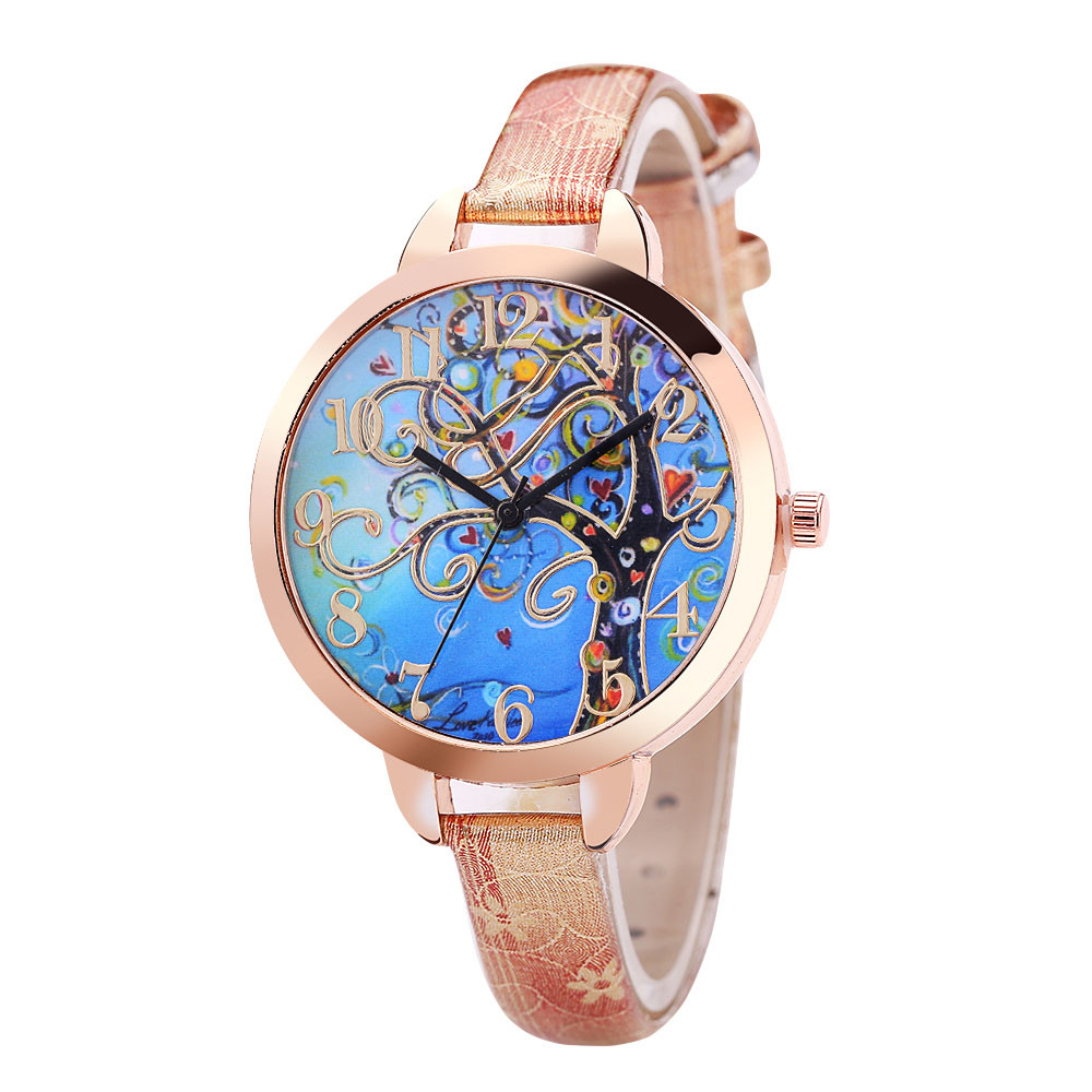 New Arrival Casual Women Watches Colorful Tree Leather Analog Quartz Wristwatches Fashion Clock Ladies Watch Montre Femme 999