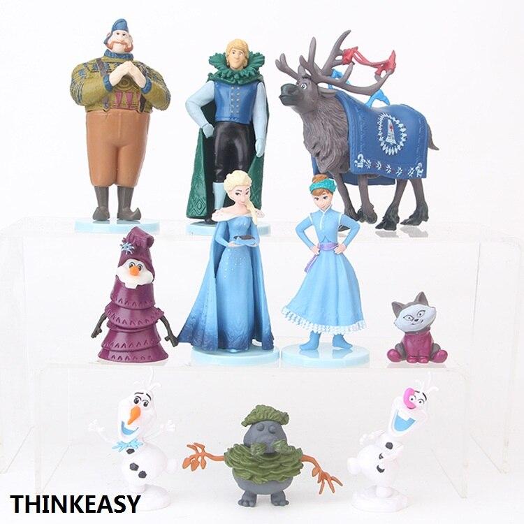 ThinkEasy 10 pcs/set Kid my cute little Anna and Eelsa Sofia Princess dress Toy Action poni Unicorn vinyl dolls