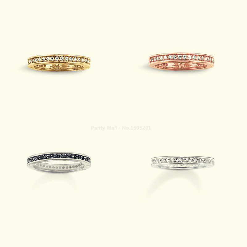 Hot Sale silver-plated Rings 4 zirconia size 7 8 9 women rings classic style Glam and soul ETERNITY Rings Jewelry
