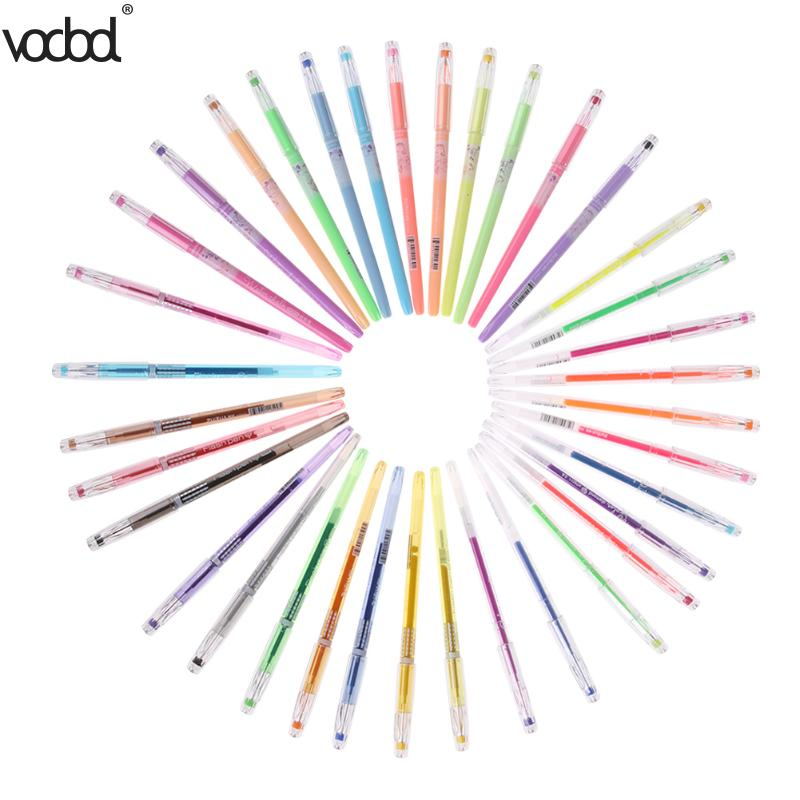 VODOOL 36 Color Neutral Pen Gel Pen Set Painting Gouache Pens Fluorescence Pastel Drawing Highlighter Pen for School Stationery the factory direct large painting signature series of neutral pen 1mm 12pcs set
