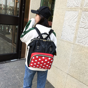 Image 3 - 2019 new Disney backpack Mickey mouse Minnie travel couple canvas shoulder bag large mother bag wear resistant student bag