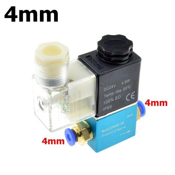 12 В 24 В 220 В вольт пневматический Электрический электромагнитный клапан 2 положения 2 порта нормально закрытый воздушный магнитный клапан 6 мм 8 мм соединение шланга - Цвет: 4mm