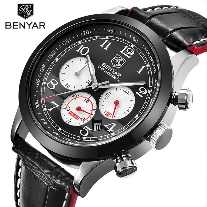 2019 BENYAR Fashion Chronograph Sport Mens Watches أعلى - ساعات رجالية