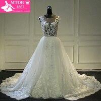 Fashionable Lace Mermaid Wedding Dress 2017 Sexy See Through Back Chic Detachable Train Vestidos De Noiva Bride Dresses MTOB1736