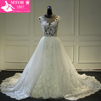Fashionable Lace Mermaid Wedding Dress 2017 Sexy See Through Back Chic Detachable Train Vestidos De Noiva