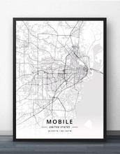 Мобильный Алабама США карта плакат