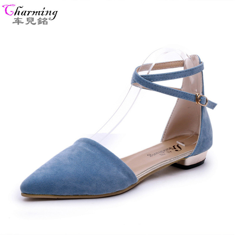 Fashion Woman Flats spring summer Women Shoes high quality strap women sandals suede Casual Comfortable Flat Hot Sale ALF152 summer style hot selling 2 colors 2015 spring flats for women shoes cute mouse flat heel woman s flats fashion free shipping