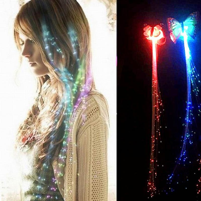 Colorful LED Wigs Glowing Flash LED Hair Braid Clip Hairpin Hair Accessories
