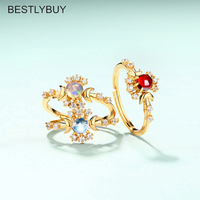 Real S925 Silver Rings for Women Semi precious Natural Stones Crystal Garnet Moonstone Engagement Fashion Jewelry Romantic Gifts