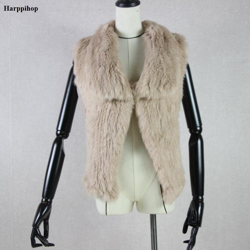 2017 New Real Knitted Rabbit Fur Vest For Women Genuine Rabbit Fur Waistcoat Natural Rabbit Fur Outwear Winter Hot Sale