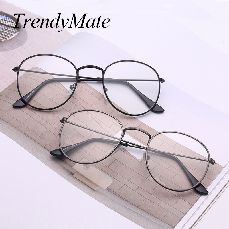 54618dd102e women Round Sunglasses Retro Metal Frame Eyeglasses Korean Clear Lens Men  Glasses Male Female Optical Circle Plain Mirror1297T