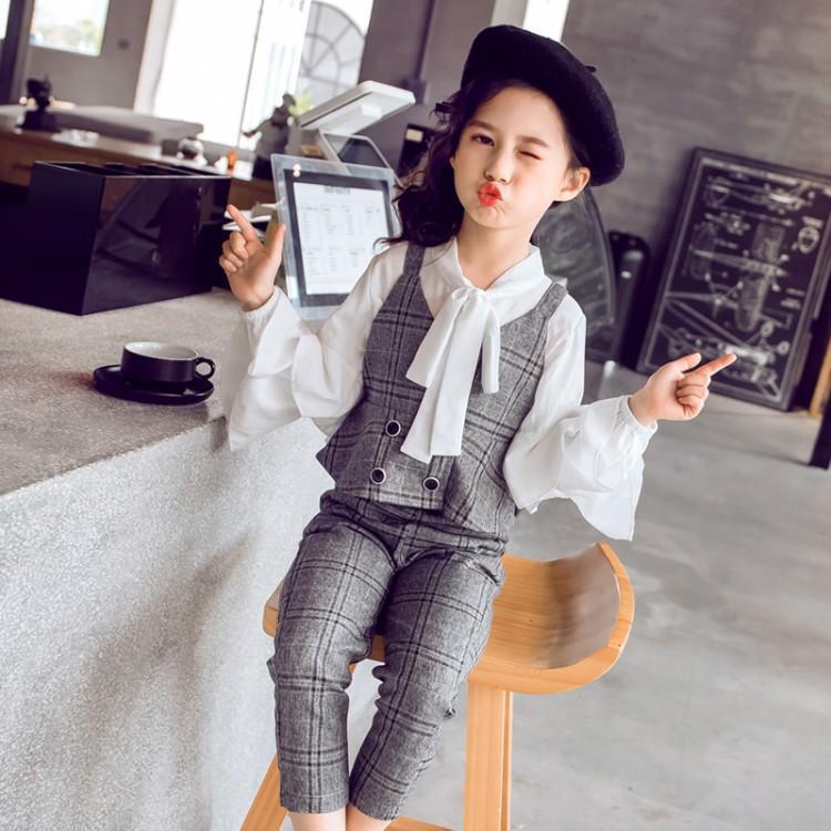 f18e6c1a6 ... Girls Clothing Set Children Outfit 3 Pcs White Blouses Shirts + Vest.  sku: 32979942615
