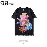 DHTEMA 2017 New Arrival Summer T Shirt Men Cotton Cartoon Abstract 3D Printer T Shirt Maiden