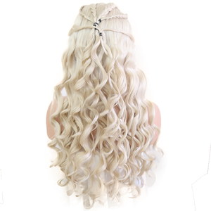 Image 5 - Bombshell Platinum White Hand Tied Synthetic Lace Front Braid Wig Heat Resistant Fiber Hair Middle Parting For White Women Wigs