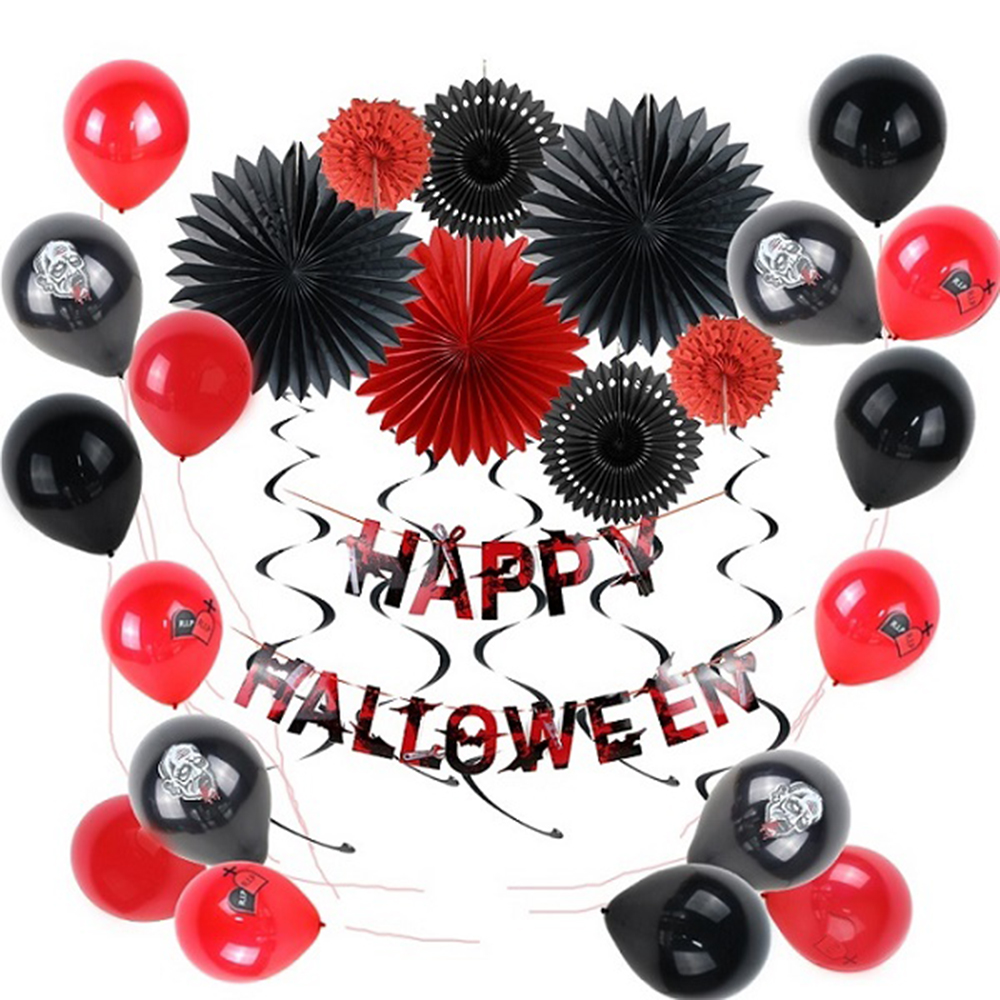 Scary Halloween Party Decoration Kit Paper Fans Latex