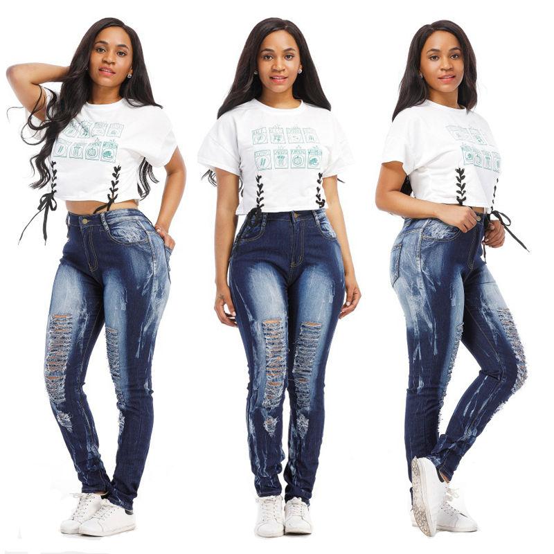 New fashion women ladies Jeans Mix Juniors Blue Denim Stretch Jeans Skinny high waist Ripped Distressed Pants stoosh new turquoise juniors geo print soft pants s $39 dbfl