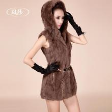 Full Pelt Real Rabbit Fur coat 2015 women's  rabbit hair fur vest female hooded medium-long vest