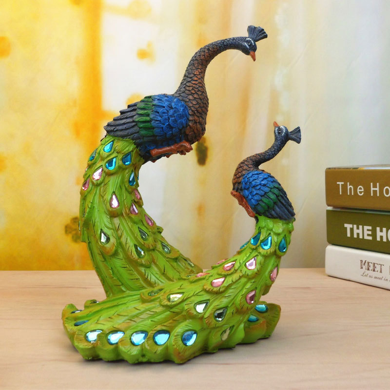 Painted Couple Peacock Wedding Gifts Unique Delicate Home Decor Resin Crafts Exquisite Gift