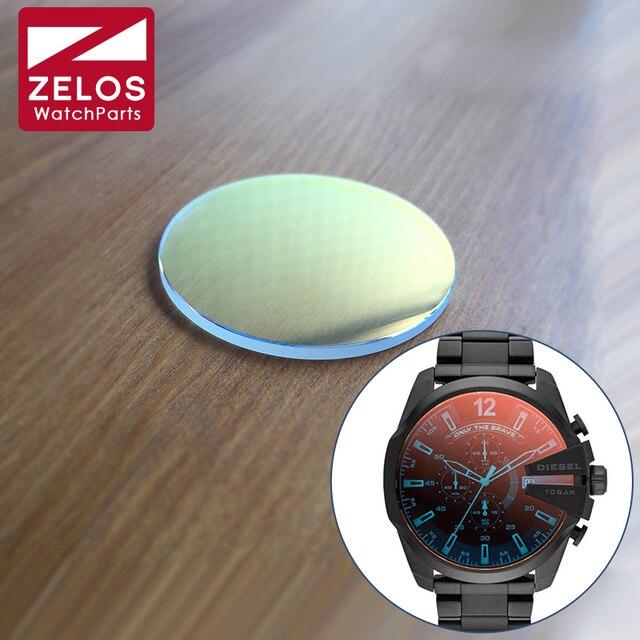 8d3cc072fd4 Colorido vidro de cristal de safira para Diesel DZ4318 papai homem relógio  de quartzo peças de