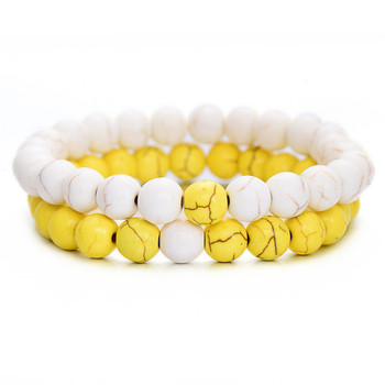 Classic Natural Stone Yin Yang Beaded Bracelets, 2Pcs/Set Bracelets Jewelry New Arrivals Women Jewelry Metal Color: white yellow