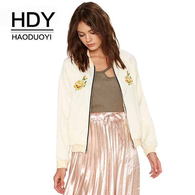 HDY Haoduoyi Women Flower Embroidery Bomber   Jacket   Casual Baseball Coat Zipper Front Long Sleeve Fashion   Basic     Jackets   Outwear