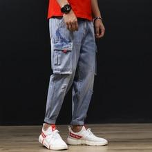Japanese Style Fashion Men Jeans Vintage Washed Small Leg Loose Fit Big Pocket Cargo Pants Streetwear Hip Hop Harem