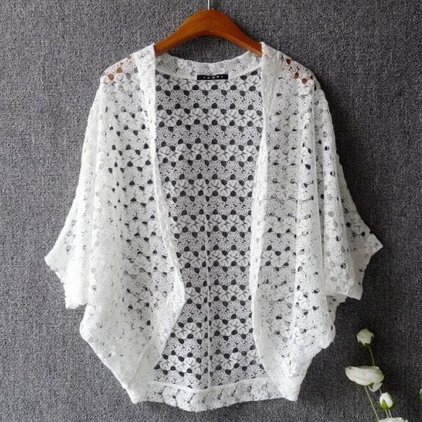 Women's Clothing Women Lace Cardigan Japanese Style Sweet Cute Lace Batwing Hollow Out Lace Tops Summer Knitted Cardigan Black/white/pink Wf873 Regular Tea Drinking Improves Your Health