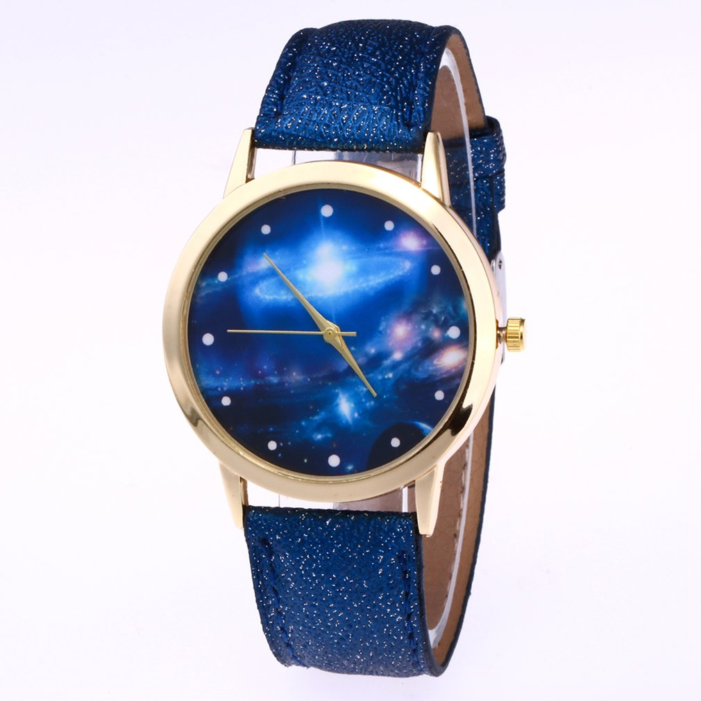 Galaxy Universe Pattern Quartz Watches Interstellar Dust Stars PU Leather Band Round Dial Wrist Watch <font><b>Unisex</b></font> Casual image