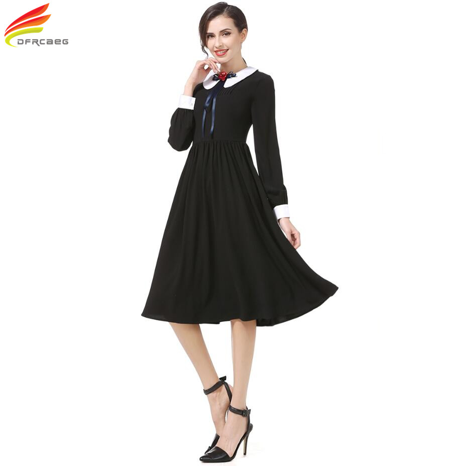 Black dress with white peter pan collar - Long Sleeve Dress 2017 Winter Autumn Euro Style Black Dress With White Peter Pan Collar Woman