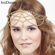 New Gold Tassel Water Drop Headbands For Women Crown Headwear Sexy Party Bridal Hair Band Chain Clip Comb Jewelry Accessories