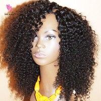 Дешевые странный U парик часть волос 100% Необработанные перуанский волос Upart парики странный вьющиеся u часть парик для черные женские