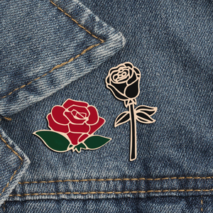 Fashion Flower Lapel Pin Women Badge 2PC Red Black Rose Design Metal Brooch Pins Couple Romantic Gift Dating Wedding Jewelry(China)