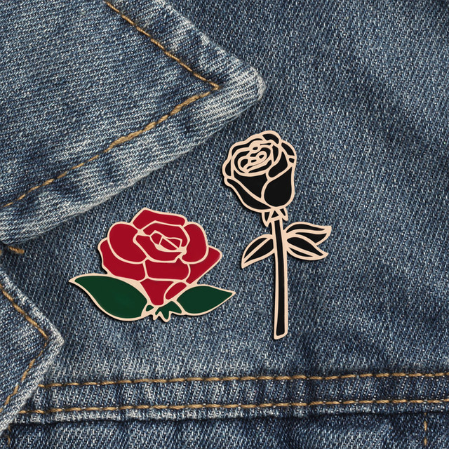 Fashion Flower Lapel Pin Women Badge 2PC Red Black Rose Design Metal Brooch Pins Couple Romantic Gift Dating Wedding Jewelry