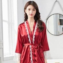 Womens Silk Pyjamas summer silk-like sexy lace suspenders long sleeved night skirt nightgown two-piece set silk robe sleepwear